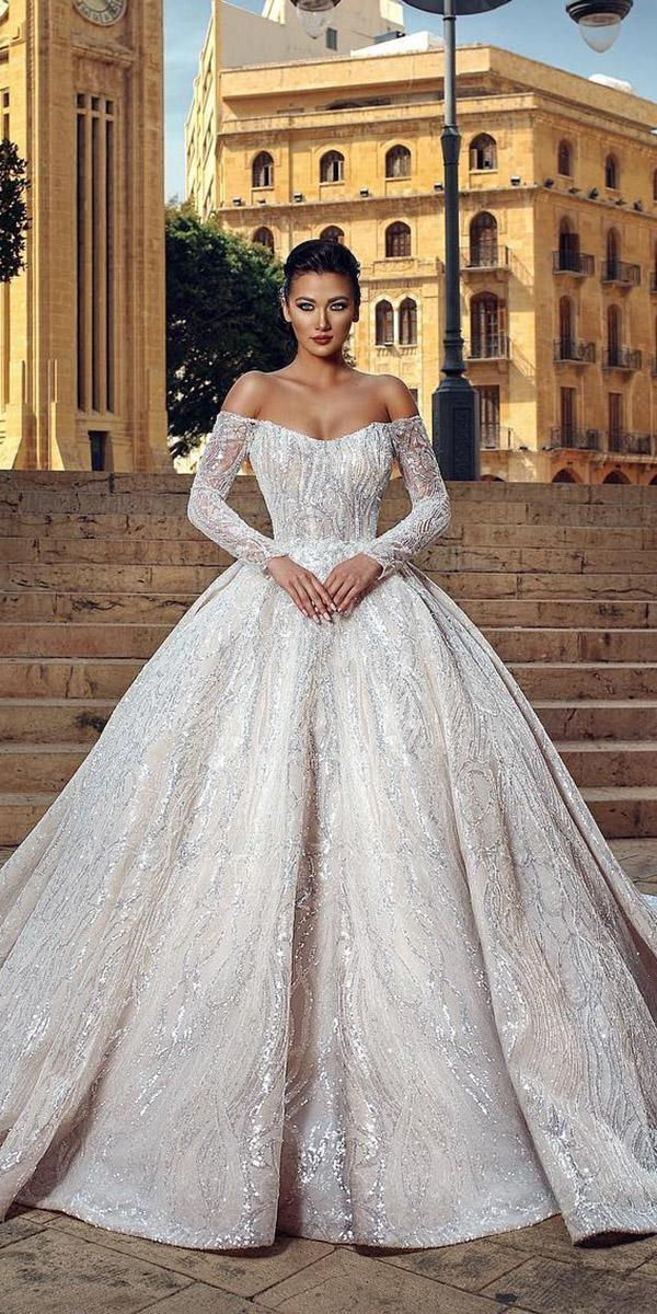 bridal gowns with sleeves ball gown off the shoulder sequins ivory ahmad younes photography