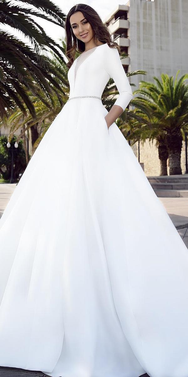 bridal gowns with sleeves ball gown simple belt tina ivashchenko