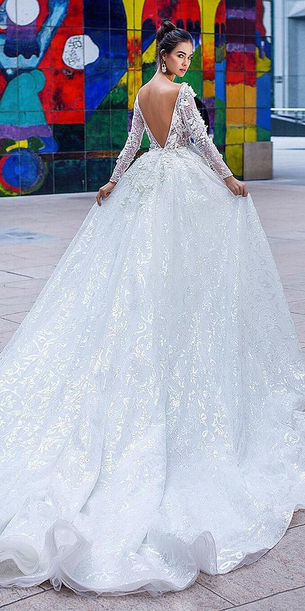 bridal gowns with sleeves ball gown v back lace lorenzo rossi