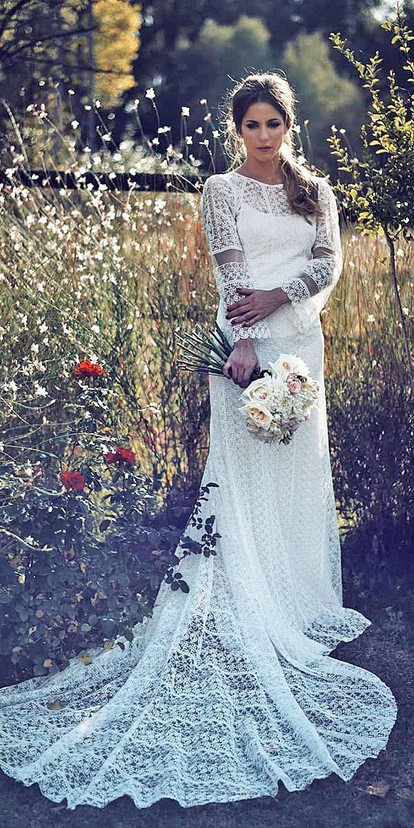 bridal gowns with sleeves boho sheath lace rustic beatri zalvaro novias