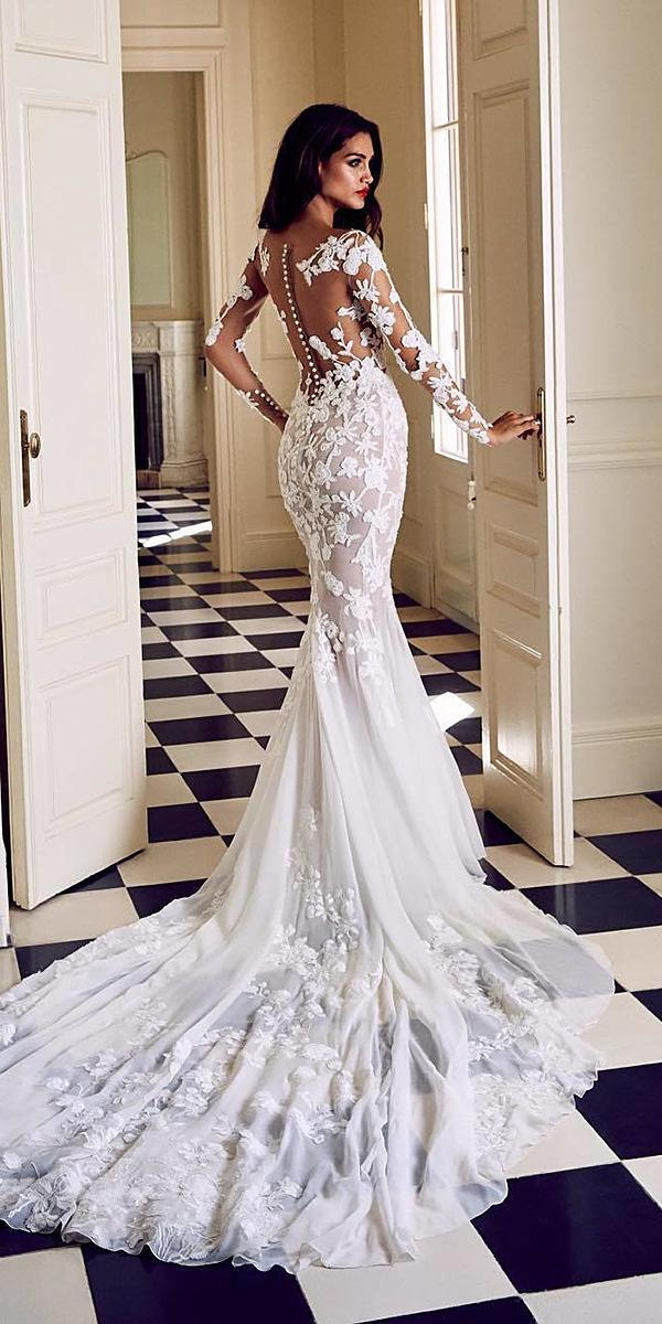 bridal gowns with sleeves mermaid illusion lace train pronovias