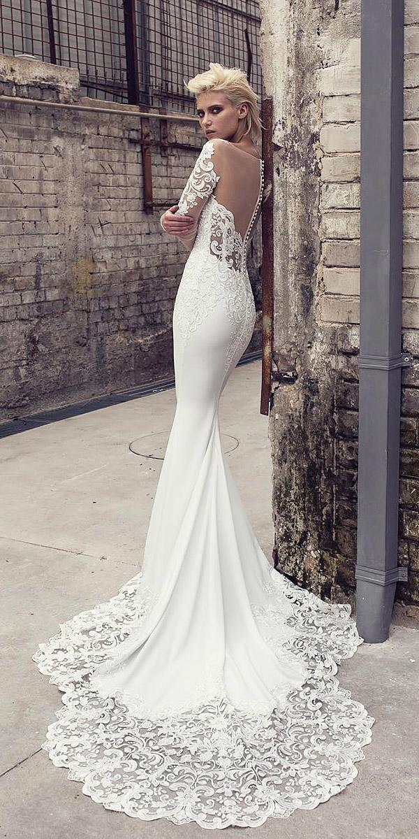 bridal gowns with sleeves mermaid illusion back with buttions lace pnina tornai