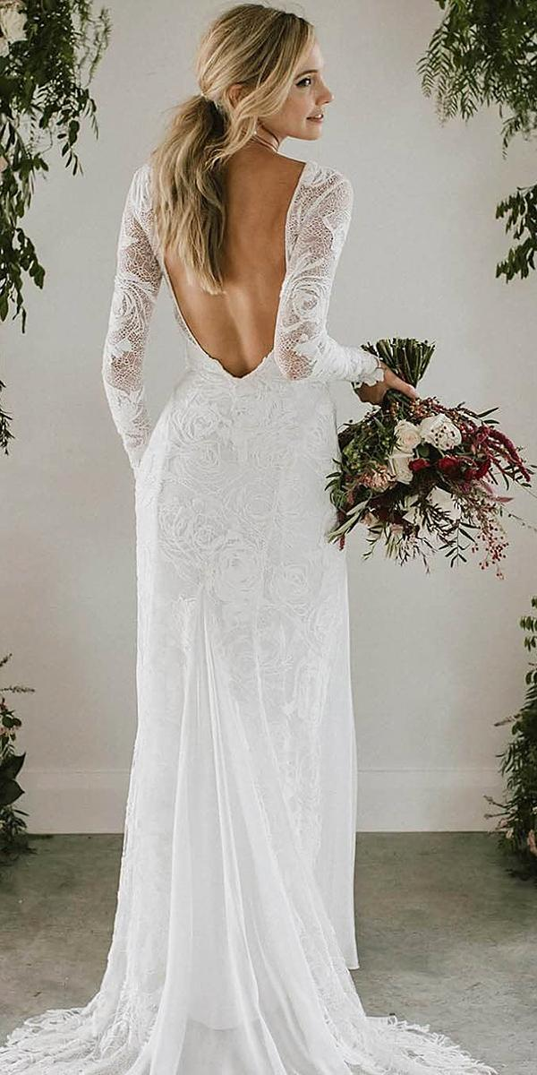 bridal gowns with sleeves sheath backless boho lace grace loves lace
