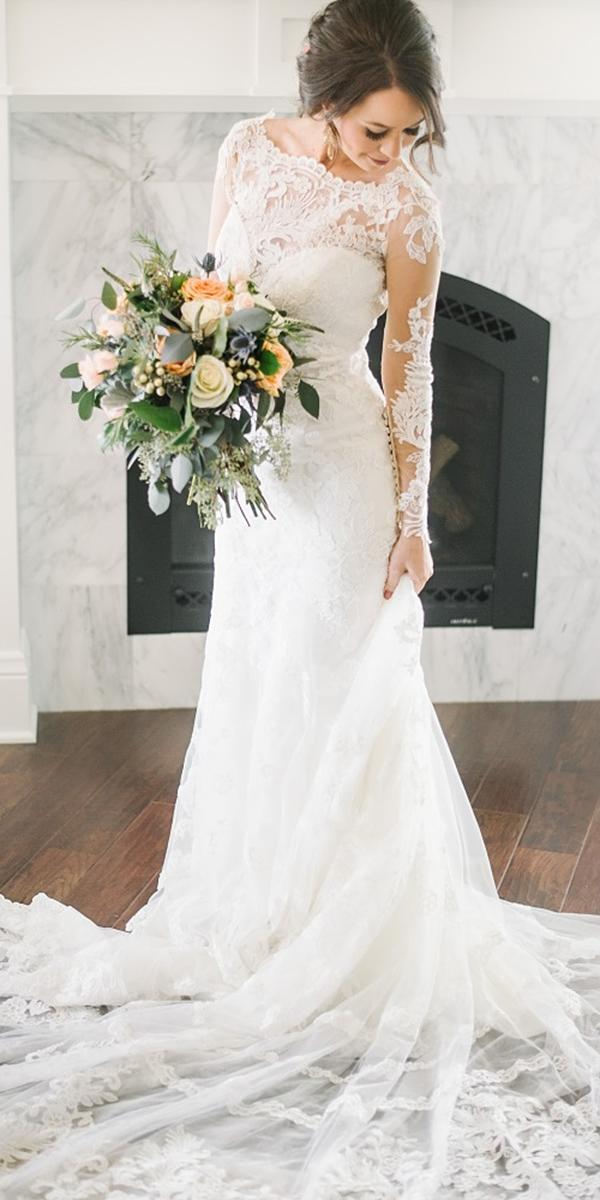 bridal gowns with sleeves sheath lace embroidered lisa anne merino