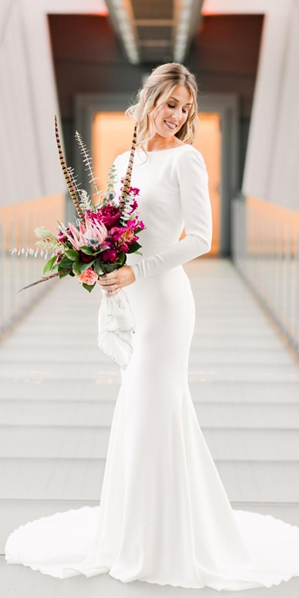 bridal gowns with sleeves sheath simple elegant lauren lee photography