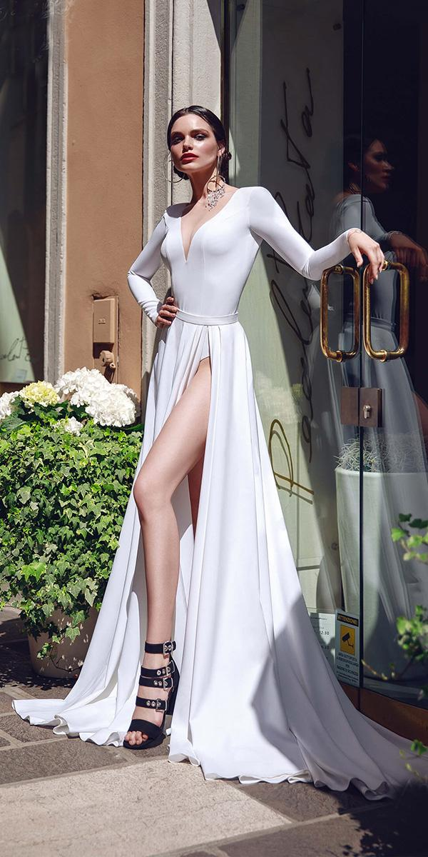 bridal gowns with sleeves simple a line deep v neckline with slit armonia
