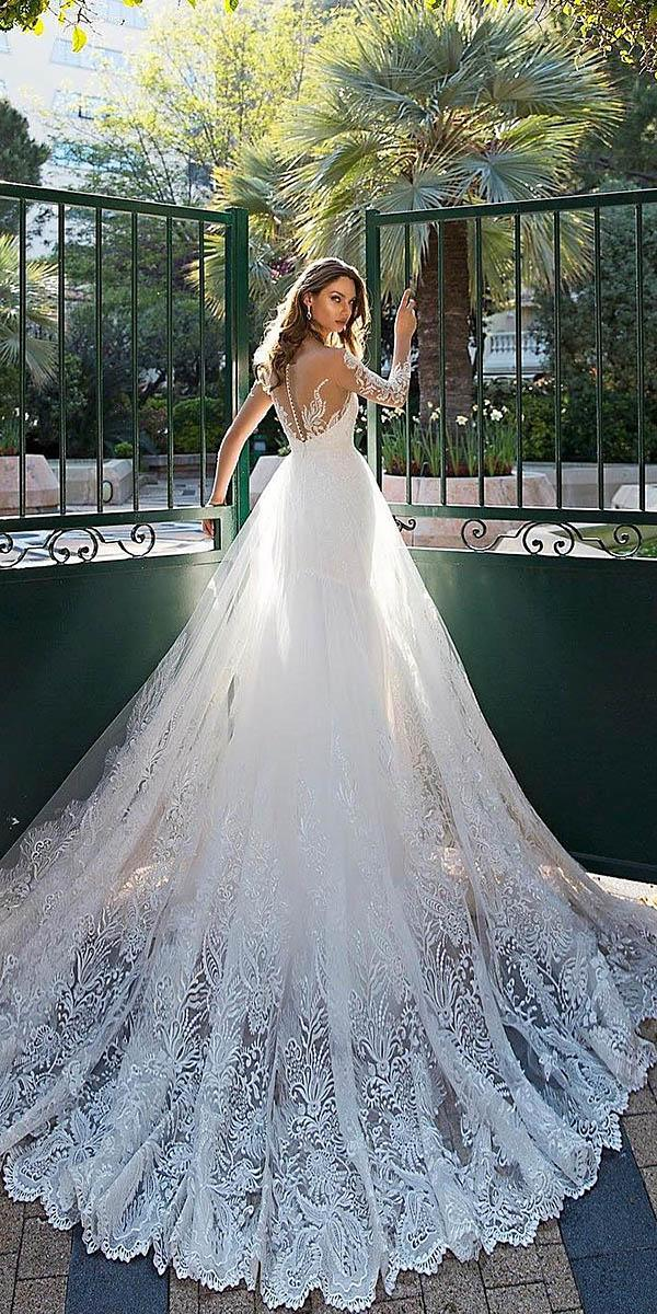 bridal gowns with sleeves tatto effect back lace tinai vashchenko