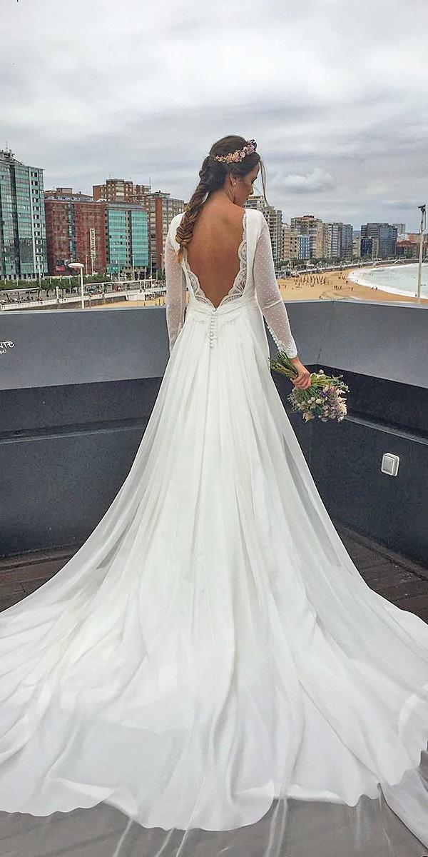 bridal gowns with sleeves v back with train nicolas costura