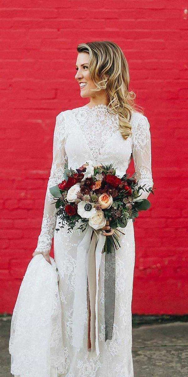 bridal gowns with sleeves vintage lace romantic solo merav