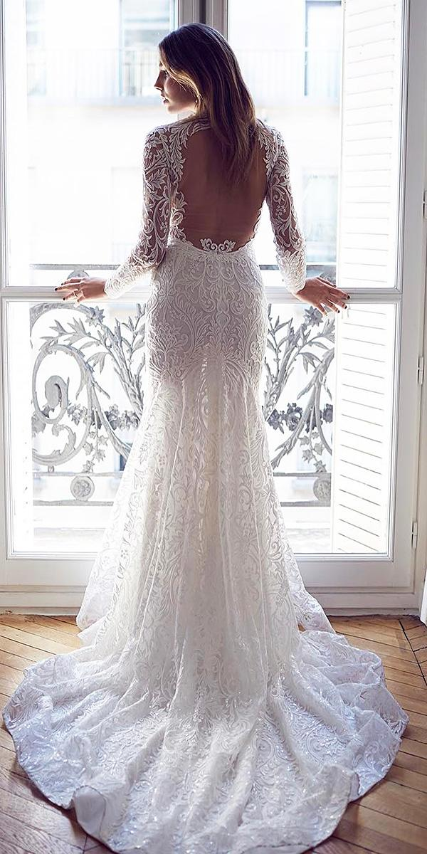 bridal gowns with sleeves vintage with long sleeves open back lace suzanne harward