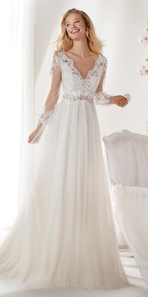 colet by nicole spose 2019 wedding dresses a line v neckline long sleeves romantic