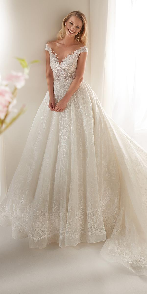 colet by nicole spose 2019 wedding dresses ball gown with cap sleeves illusion neckline