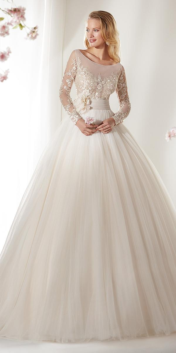 colet by nicole spose 2019 wedding dresses ball gown with illusion long sleeves lace