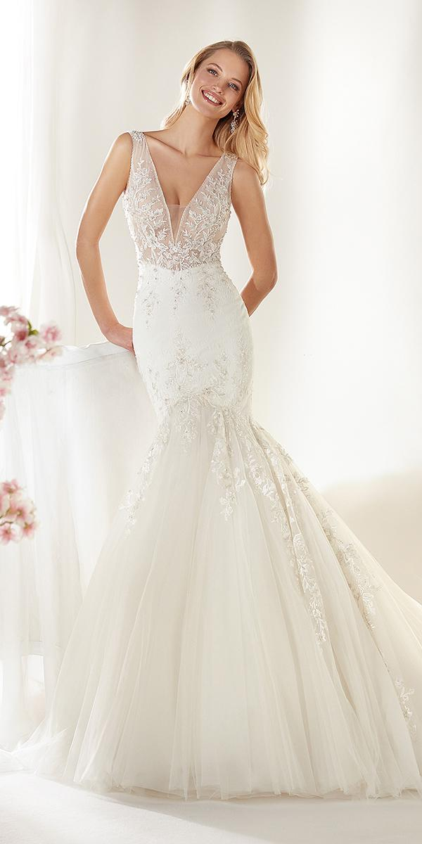 colet by nicole spose 2019 wedding dresses mermaid deep v neckline lace floral