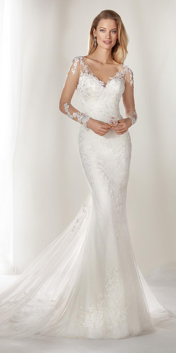 colet by nicole spose 2019 wedding mermaid with illusion long sleeves lace