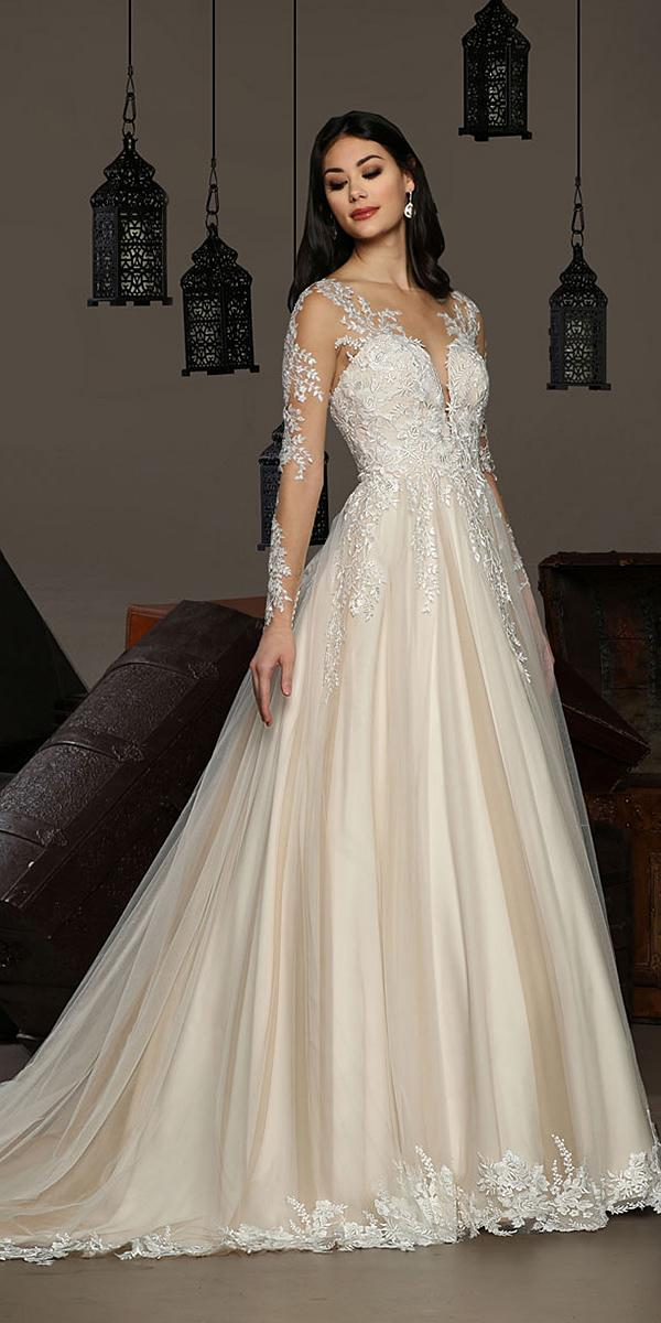 cristiano lucci wedding dresses a line deep v neckline with long sleeves lace tulle skirt blush 2018