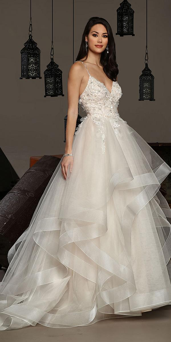 cristiano lucci wedding dresses ball gown with spaghetti straps floral appliques ruffled skirt