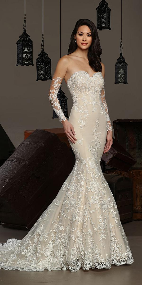 cristiano lucci wedding dresses mermaid sweetheart strapless lace detached sleeves 2018