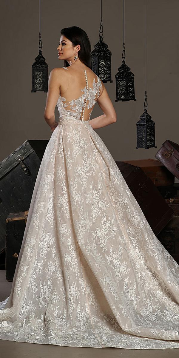 cristiano lucci wedding dresses princess illusion back lace floral blush 2018