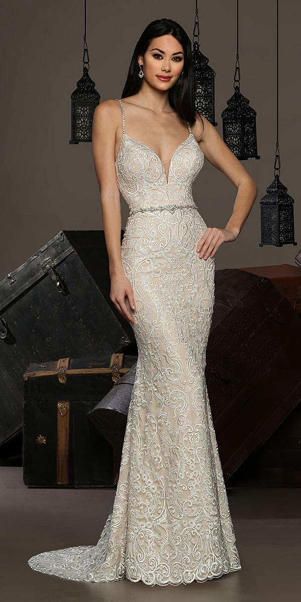 cristiano lucci wedding dresses with spaghetti straps deep v neckline sweetheart beaded belt lace
