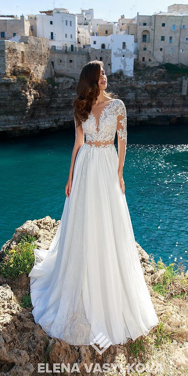 elena vasylkova wedding dresses 2018 a line with illusion long sleeves lace romantic