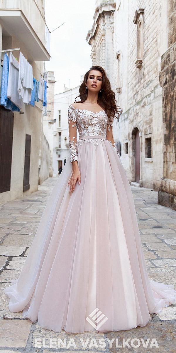 elena vasylkova wedding dresses 2018 a line with illusion long sleeves floral appliques colored