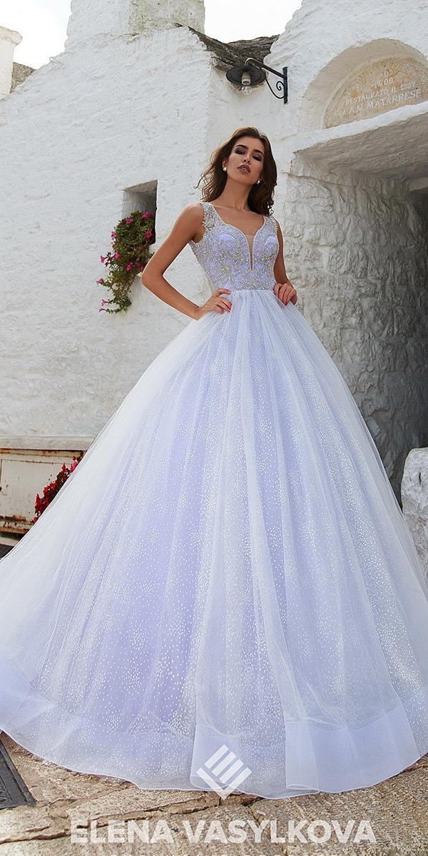 elena vasylkova wedding dresses 2018 ball gown deep v neckline beaded top blue