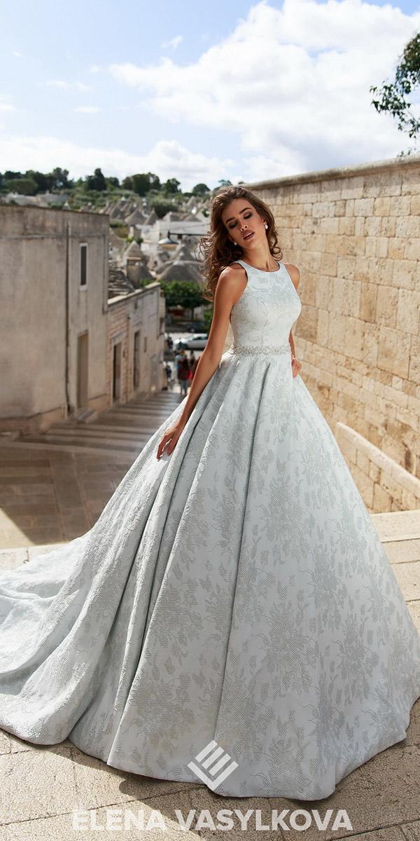 elena vasylkova wedding dresses 2018 ball gown floral embroidery beaded belt