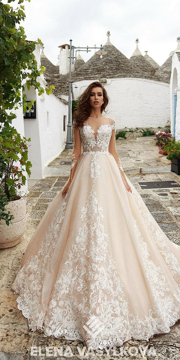 elena vasylkova wedding dresses 2018 ball gown with illusion long sleeves lace champagne