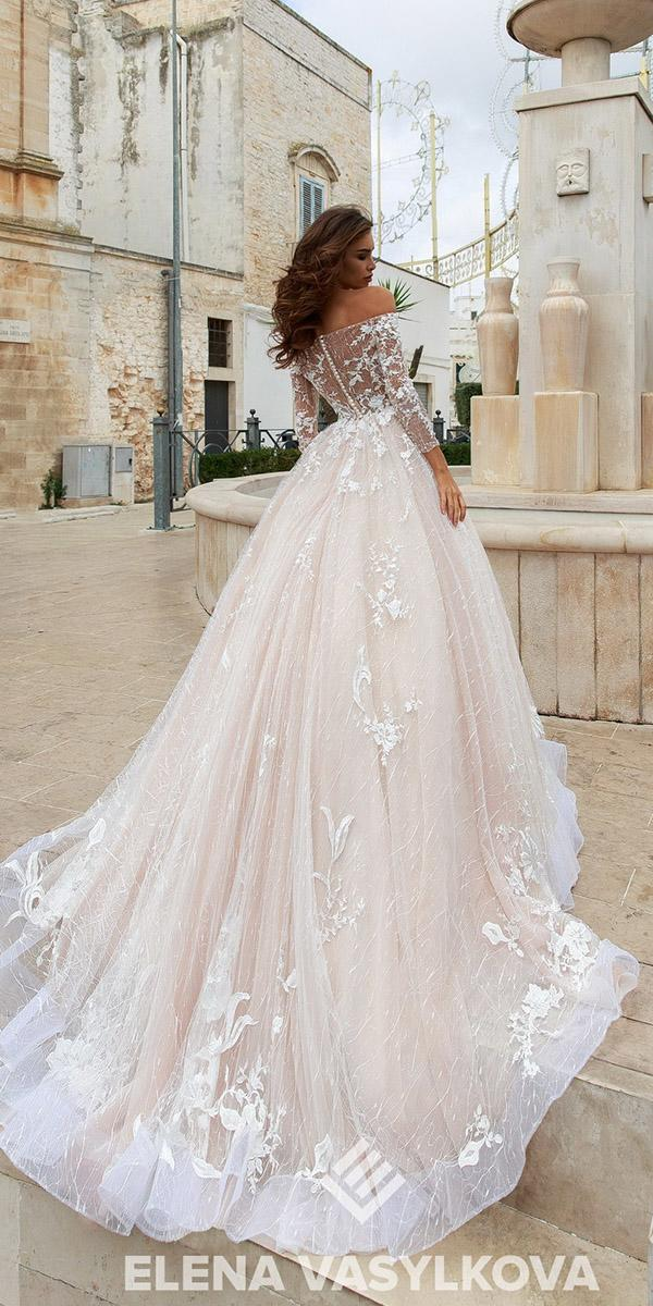 elena vasylkova wedding dresses 2018 ball gown with long sleeves off the shoulder lace floral