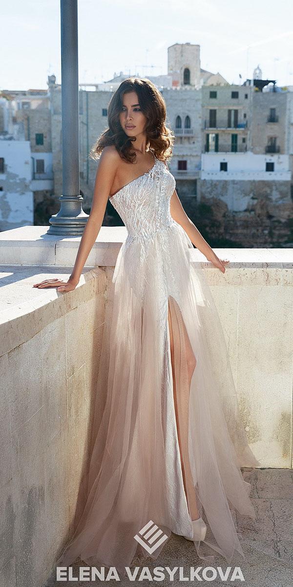 elena vasylkova wedding dresses 2018 beach assymmetric neckline with slit sexy ombre