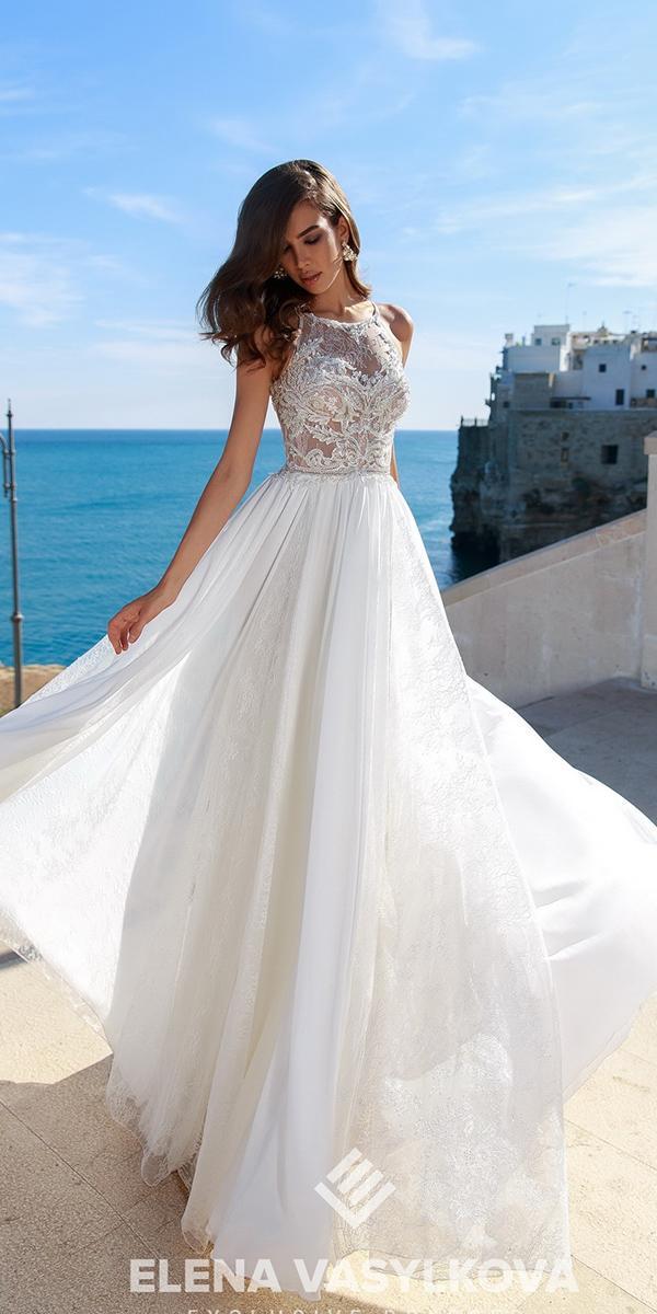 elena vasylkova wedding dresses 2018 for beach halter neckline lace top romantic