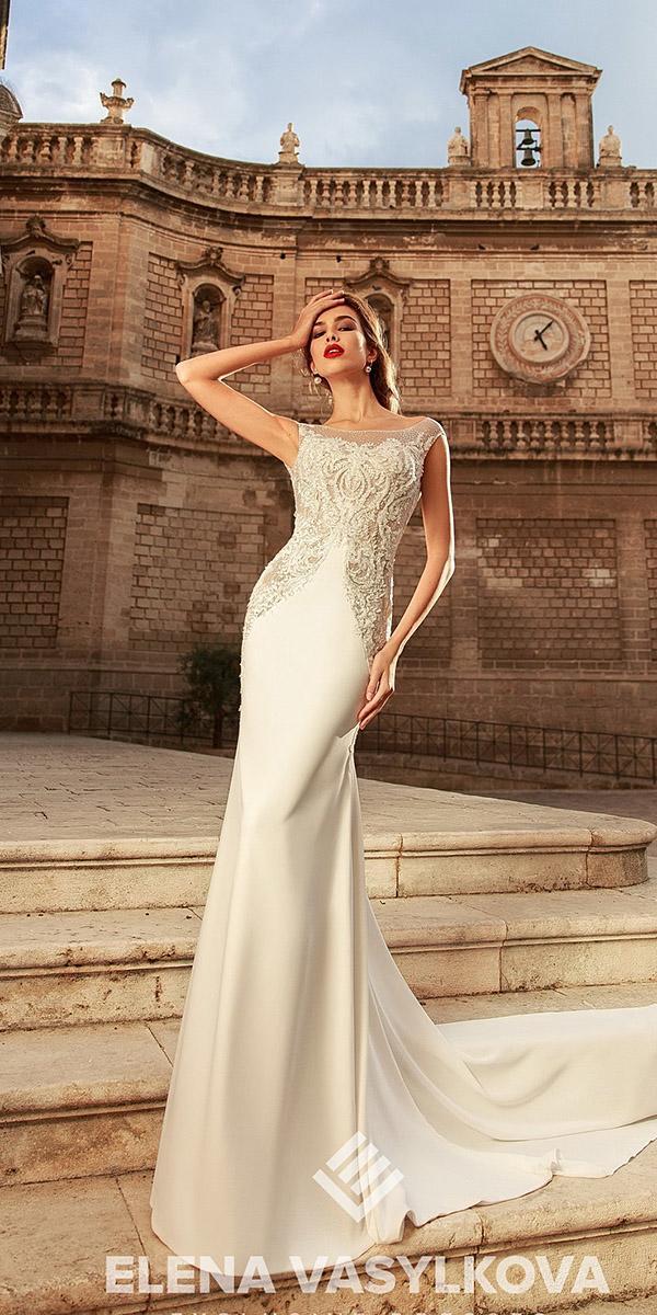 elena vasylkova wedding dresses 2018 sheath illusion neckline lace for beach satin
