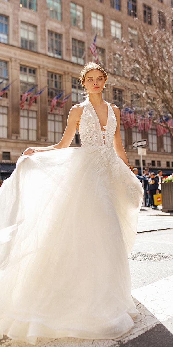 eva lendel wedding dresses 2019 a line deep v neckline for beach floral appliques