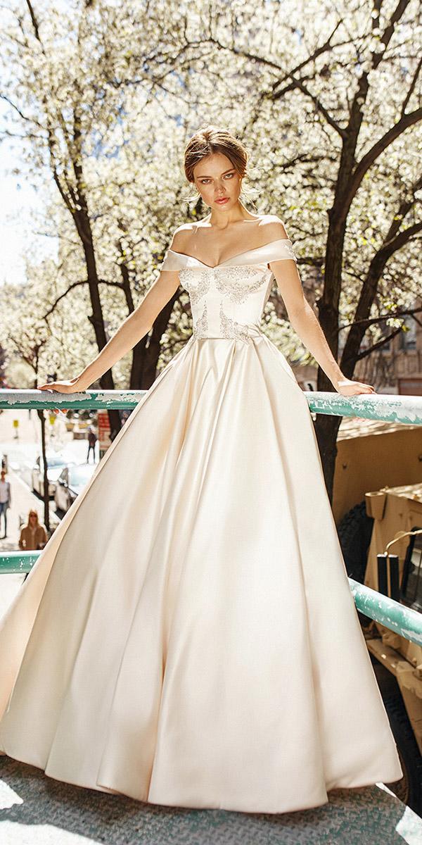 eva lendel wedding dresses 2019 a line off the shoulder beige