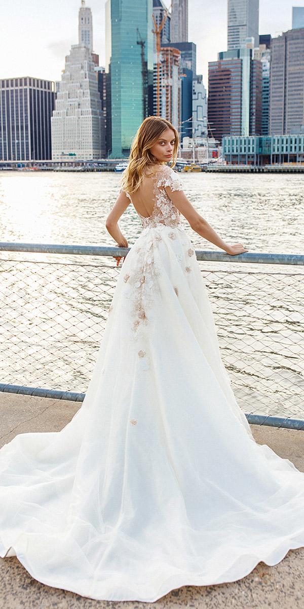 eva lendel wedding dresses 2019 a line open back with cap sleeves lace floral romantic