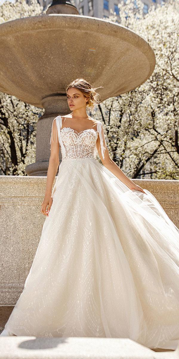 eva lendel wedding dresses 2019 a line sweetheart illusion neckline lace top summer ivory