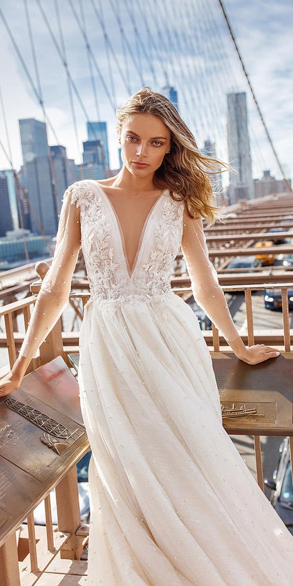 eva lendel wedding dresses 2019 a line with long illusion sleeves deep v neckline floral appliques
