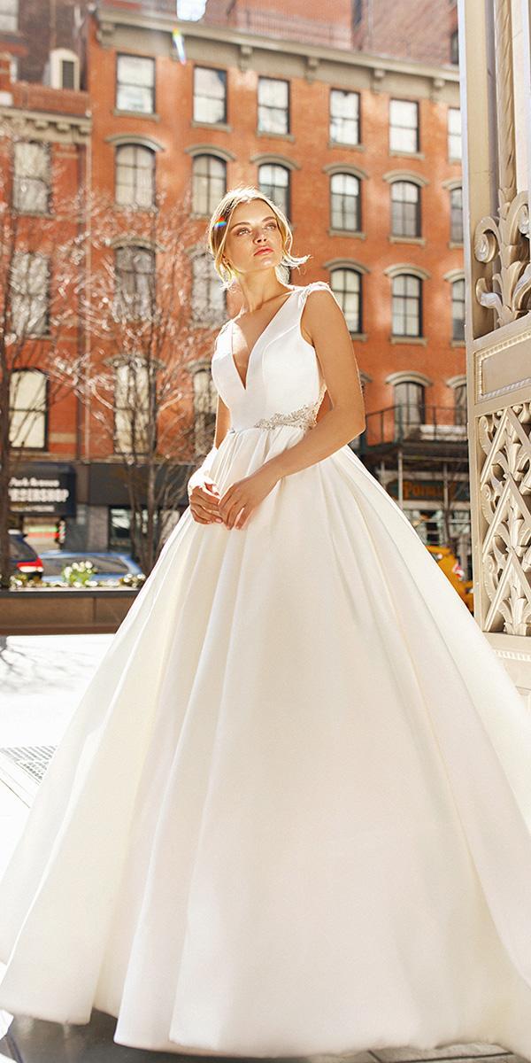 eva lendel wedding dresses 2019 ball gown deep v neckline simple romantic