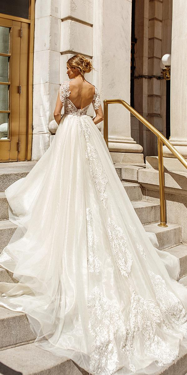 eva lendel wedding dresses 2019 ball gown open back with cap sleeves lace with train