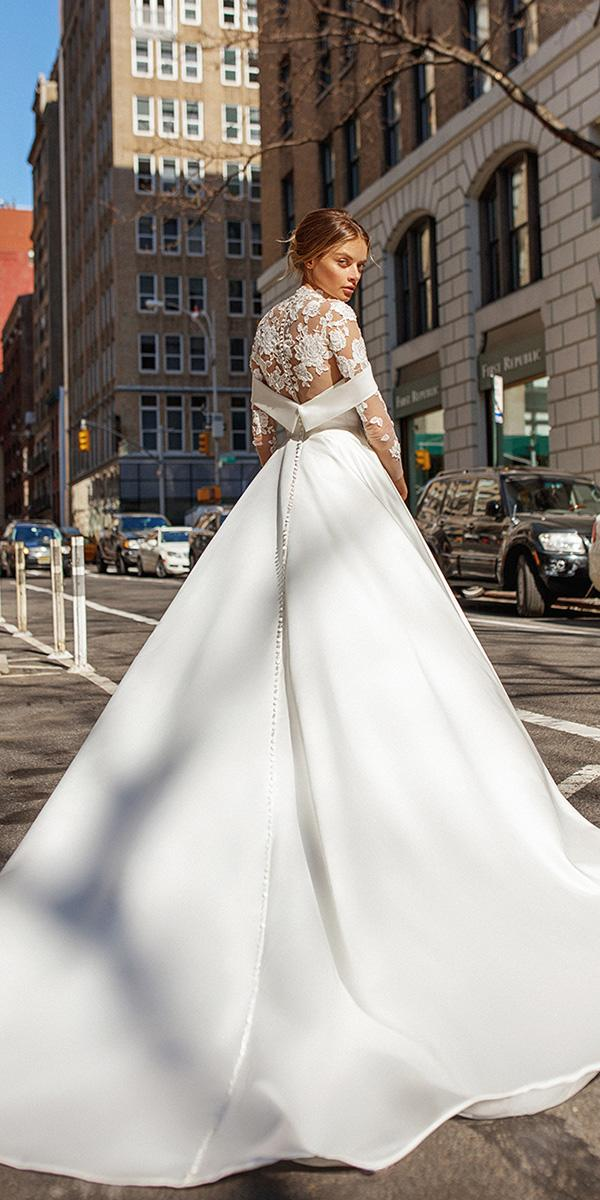 eva lendel wedding dresses 2019 ball gown with long sleeves illusion floral back