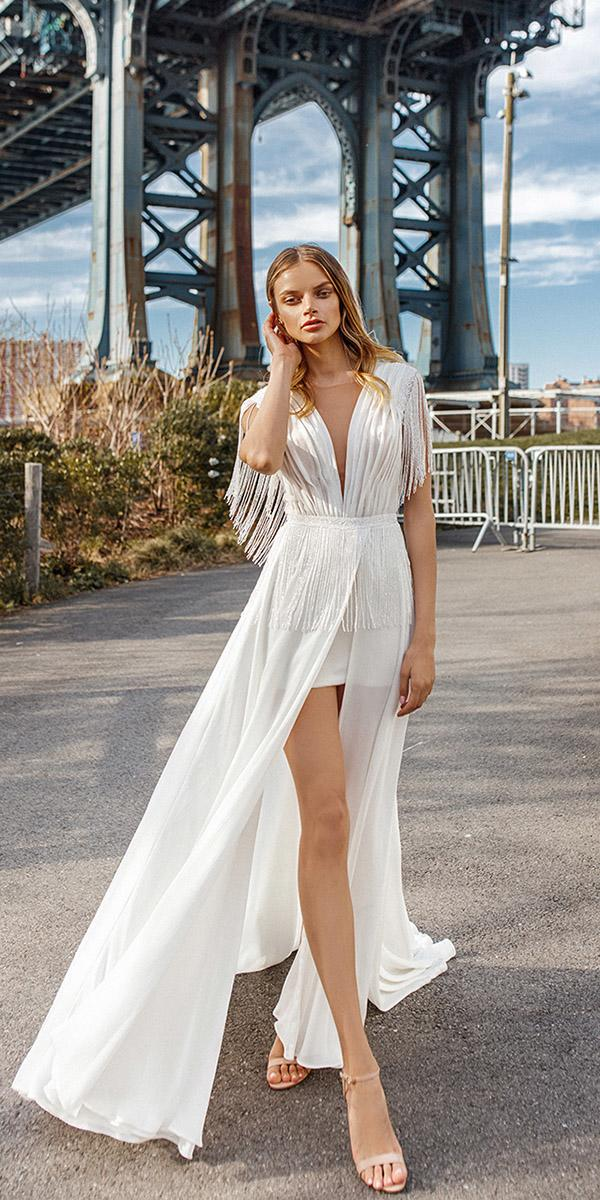 eva lendel wedding dresses 2019 sexy beach trendy deep v neckline short skirt
