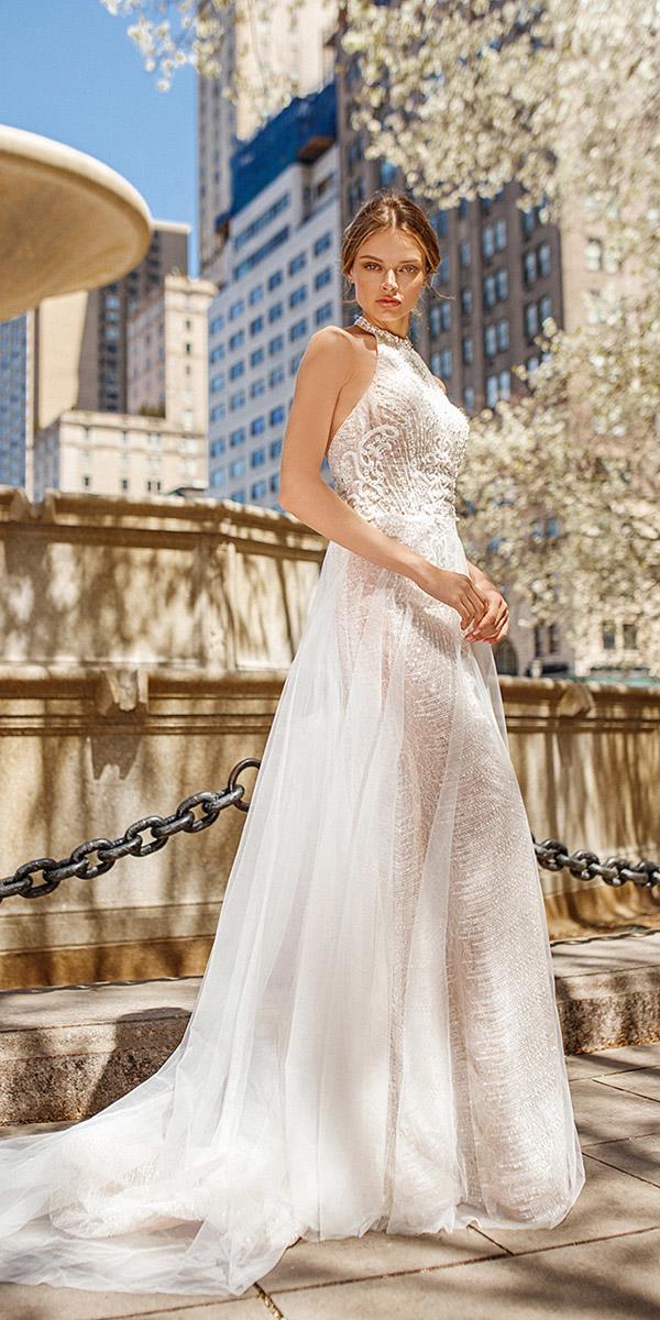 eva lendel wedding dresses 2019 sheath with overskirt halter neckline beach