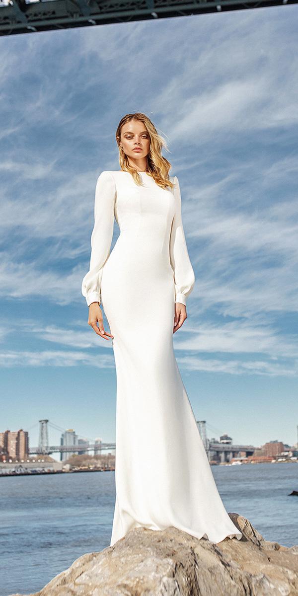eva lendel wedding dresses 2019 simple sheath with long sleeves white