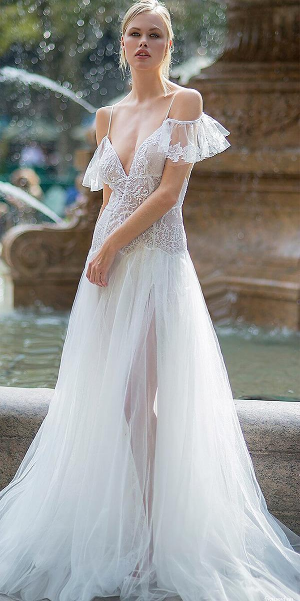 lavish by persy wedding dresses boho with straps off the shoulder lace slit
