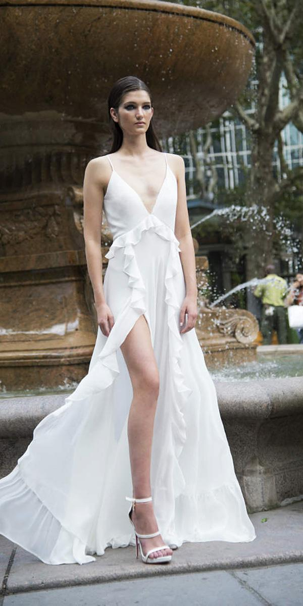 lavish-by-persy wedding dresses simple with straps plunging neckline slit