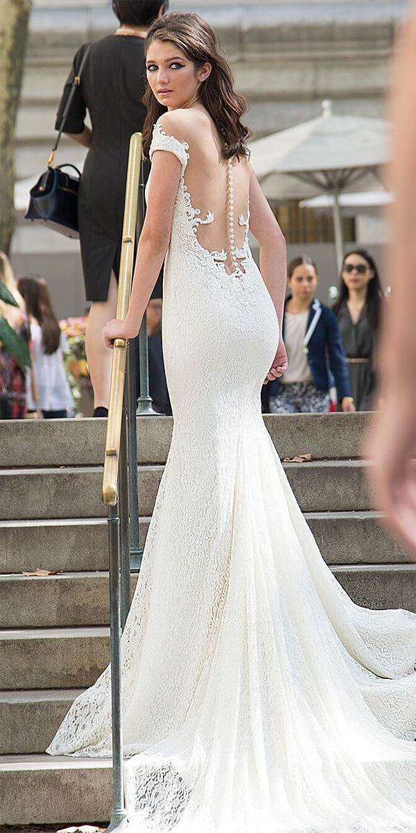 lavish by persy wedding dresses trumpet off the shoulder illusion back with buttons lace