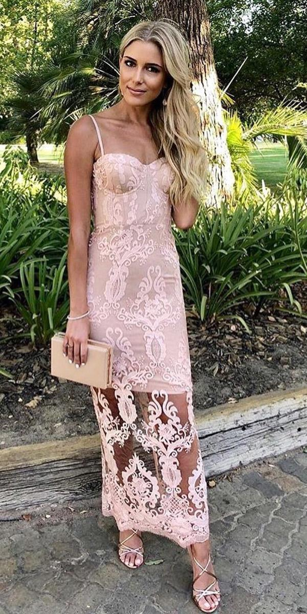 summer wedding guest dresses long with spaghetti straps sweeetheart lace outdoor white runway