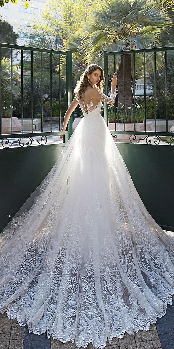 tina valerdi wedding dresses ball gown with illusion long sleeves tattoo effect back