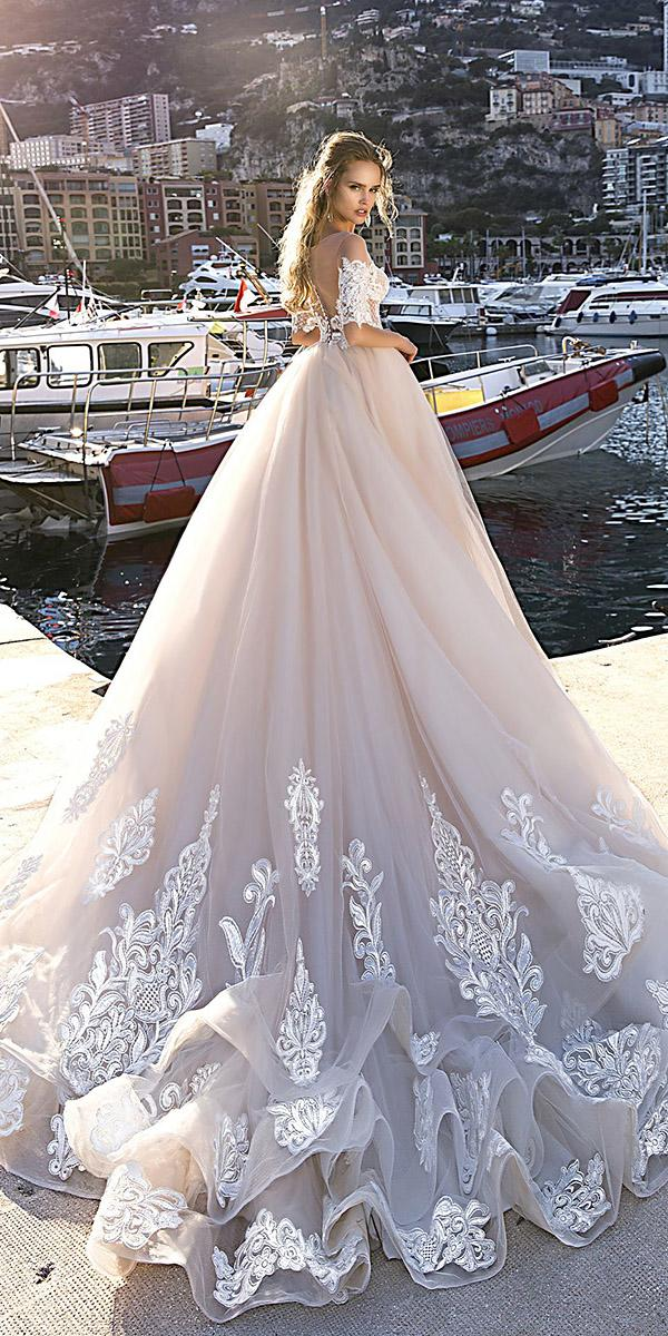 tina valerdi wedding dresses ball gown with three quote sleeves blush 2019